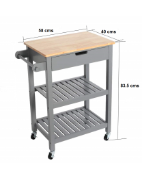 Grey Wooden 2 Tier Kitchen Trolley Cart Table Organiser With Towel Rail & Drawer
