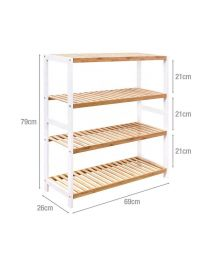 4 Tier Natural Bamboo Wood Shoe Rack Storage Shelf Organiser Hallway Furniture