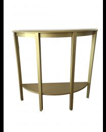 Half Moon Console Table Hallway 1 Shelf Storage Furniture Unit Table White/Gold
