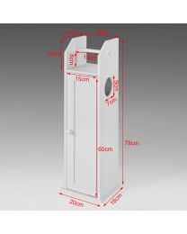 White Wooden Portable Toilet Roll Paper Tissue Bathroom Cabinet Storage Holder