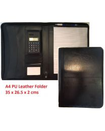 A4 PU Leather Zipped Business Conference Folder Organiser Case Fast Shipping UK