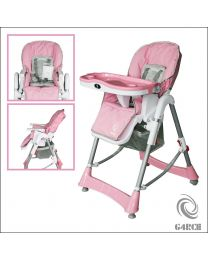 G4RCE Foldable 3 IN 1 Baby Toddler Infant Highchair Feeding Recliner Seat Pink