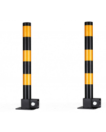 2 pcs x Steel Removable Folding Security Parking Driveway Vehicle Post Bollards