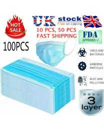 Disposable Mask,100 Count 3 Ply Disposable Earloop Face Masks Earloop Woven Masks Nose Allergy Dust Mask Filter Mask for Medical Dental Surgical Hypoallergenic(Blue)…