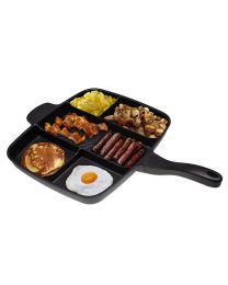 Non-Stick 5 In 1 Divided Grill Fry Pan Fryer Oven Meal Skillet 15'' Inch Black