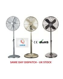 G4RCE 16'' Electric Metal Oscillating Floor Standing 3 Speed Pedestal Remote Fan