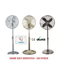16'' CHROME BLACK FLOOR STANDING WITH REMOTE FAN 3 SPEED HEAD TILTS OSCILLATES UK