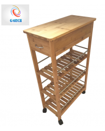 4 Tier Slim Portable Natural Bamboo Wood Kitchen Trolley Organiser Cart Wheels