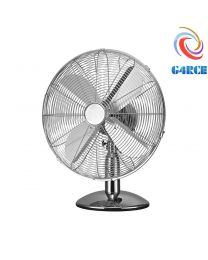 G4RCE 12'' 35W Chrome Metal Portable Adjustable Oscillating Table Desk Fan Silver
