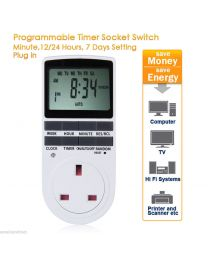 2 x Digital LCD Display Electronic UK Plug - In Programmable Timer Switch Socket
