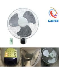 QUALITY 16 Wall Mounted Fan 3 Speed oscillate Remote Hydroponics Cooling UK Plug